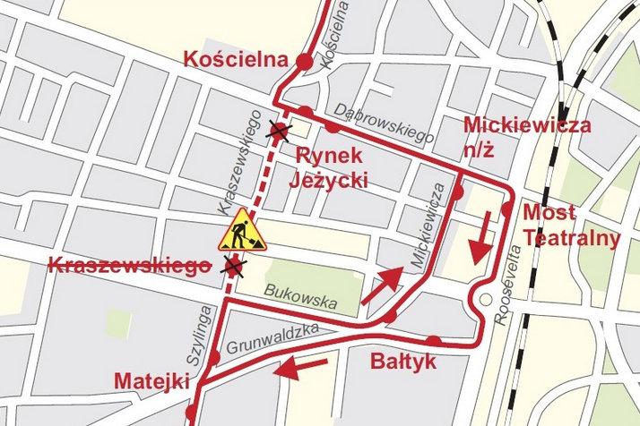 objazd kraszewskiego mapka - Urząd Miasta Poznania