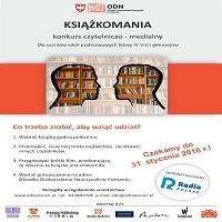 """MARZEC 2018, KONKURS CZYTELNICZO - MEDIALNY """"KSIĄŻKOMANIA"""""""
