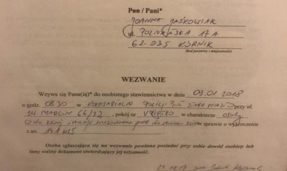 jaśkowiak wezwanie na policję wośp - aukcje.wosp.org.pl