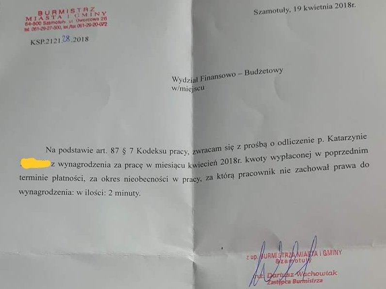 szamotuły pismo kara za spóźnienie - Twitter/broerkonijn67