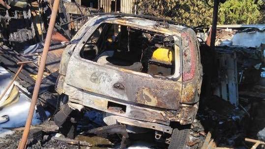 pożar garażu w jerzykowie - OSP Biskupice