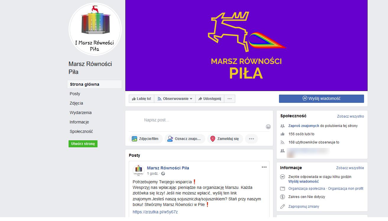 Jeleń puszczający tęczowego bąka logo marsz równości piła - Screen FB