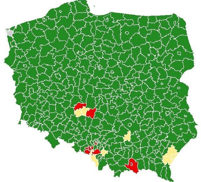 mapa koronawirus - Ministerstwo Zdrowia