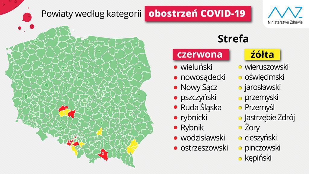 mapa obostrzeń powiaty  - TT: Ministerstwo Zdrowia