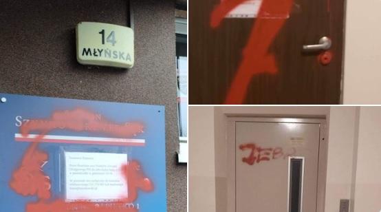 zdewastowane biuro pis  - TT: Szymon Szynkowski vel Sęk