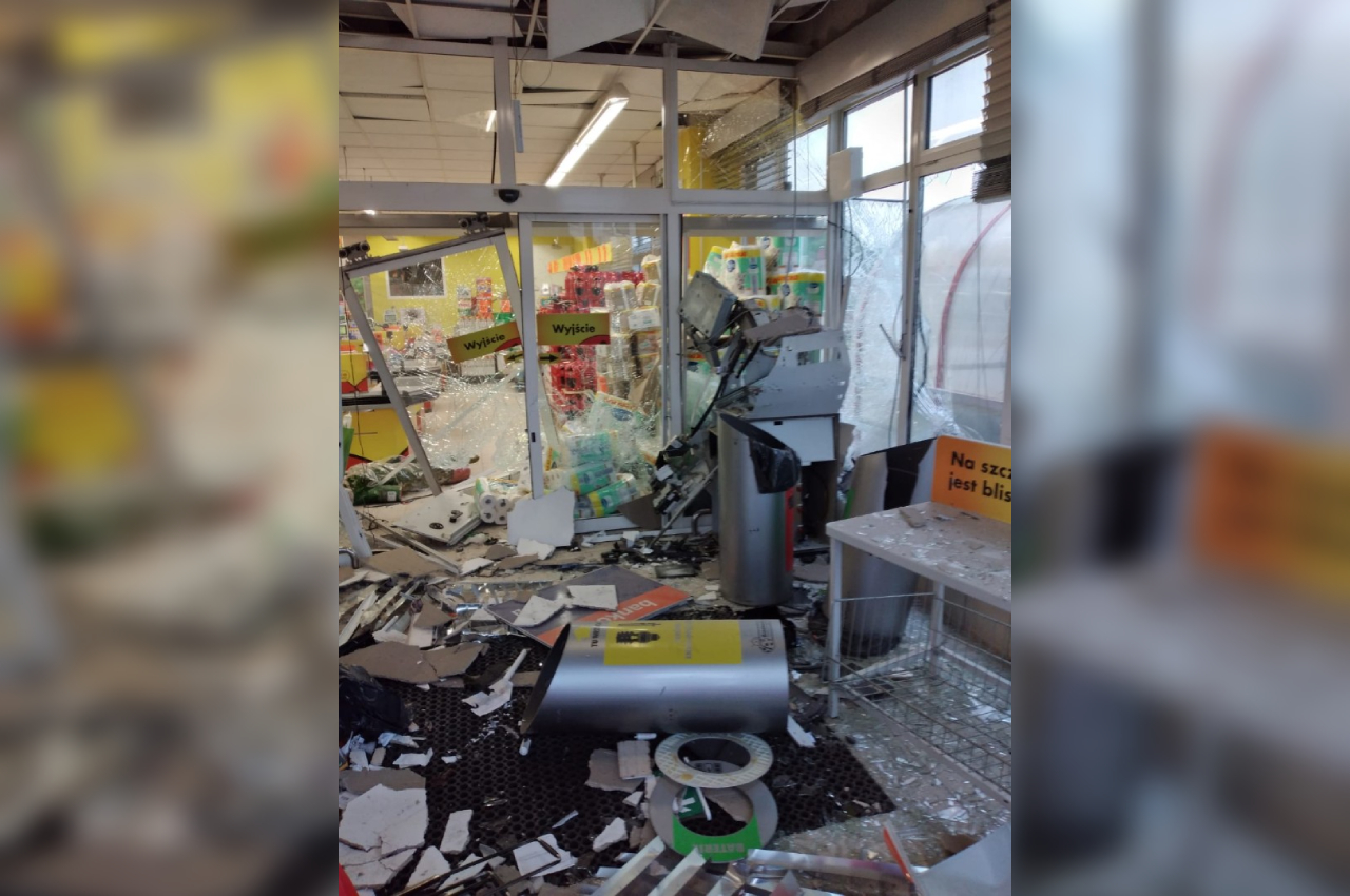 wysadzony bankomat poniec gostyń - KPP w Gostyniu