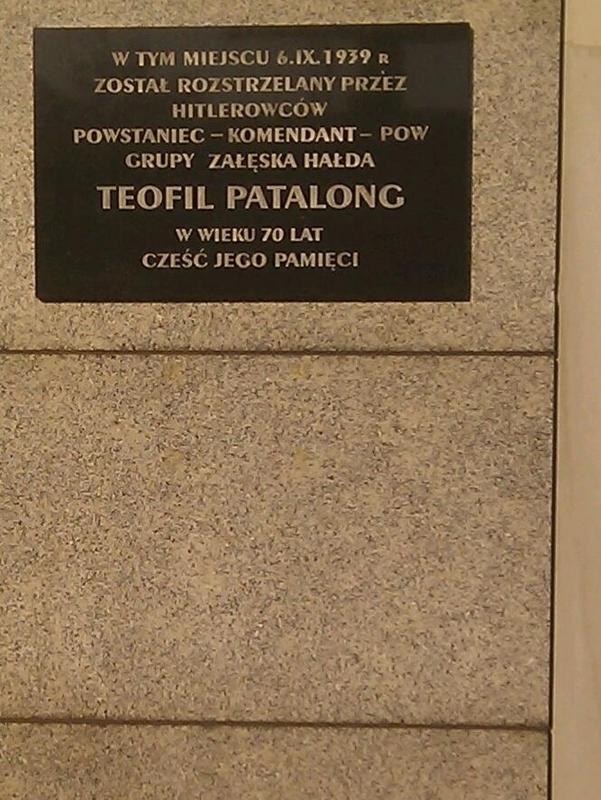 Płyta upamiętniająca Teofila Patalonga. Katowice-Załęże