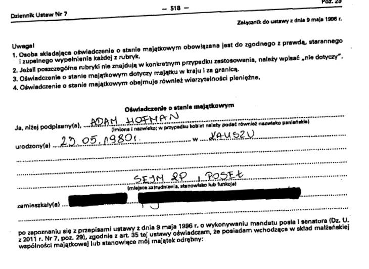 adam hofman_oswiadczenie - Sejm.gov.pl