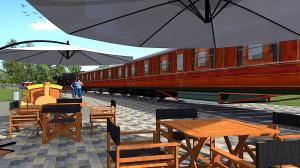 Wagon restauracyjny stanie w budowanym parku Rataje
