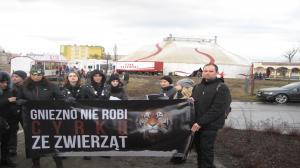Niemy protest przed cyrkiem w Gnieźnie