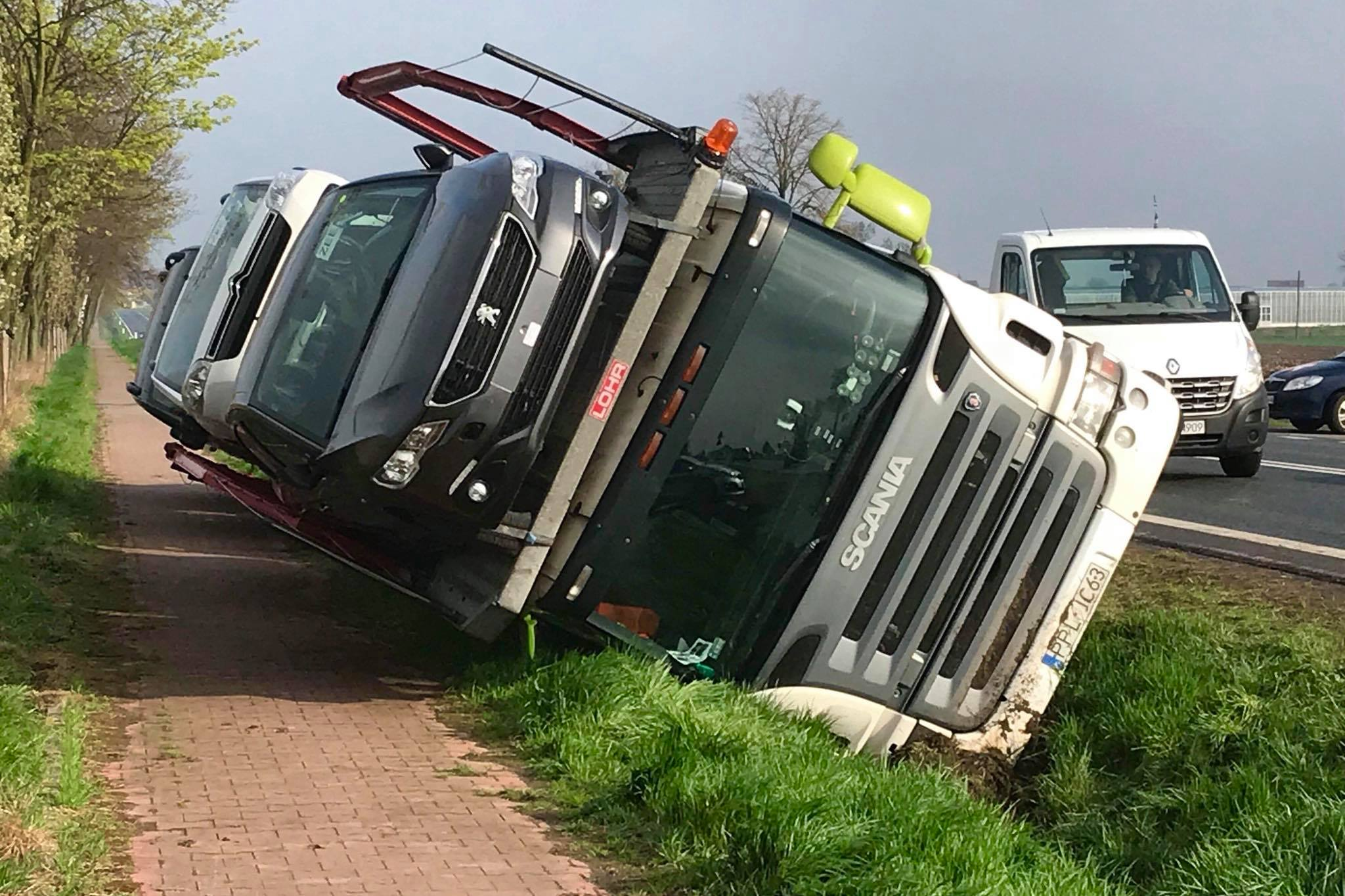 laweta w rowie wypadek - Kalisz24 INFO