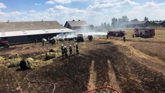 pożar kombajn rolniczy słupca - PSP Słupca