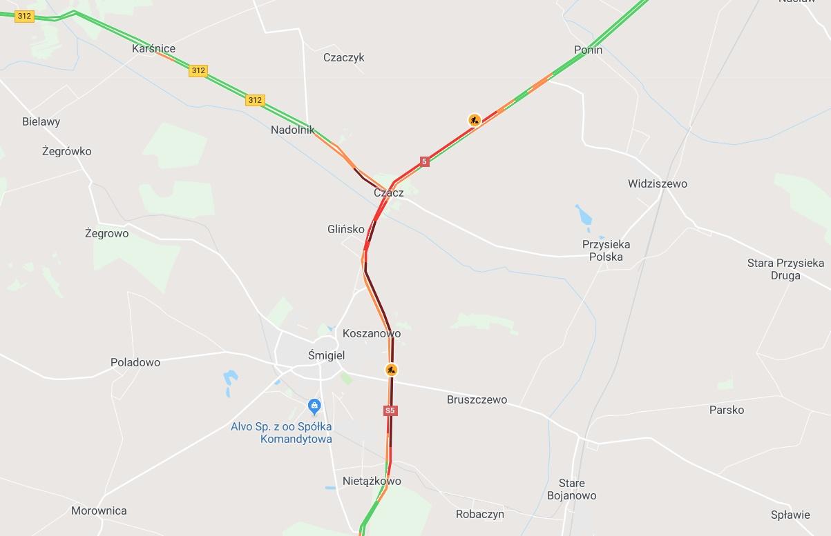 wypadek dk5 - Google Maps