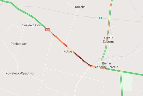 dk92 rokosz wypadek - Google Maps