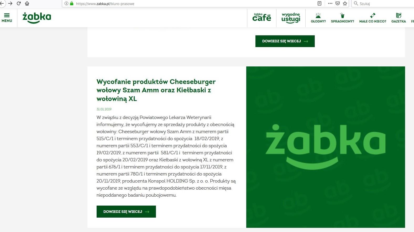 Zabka3 wycofanie - www.zabka.pl