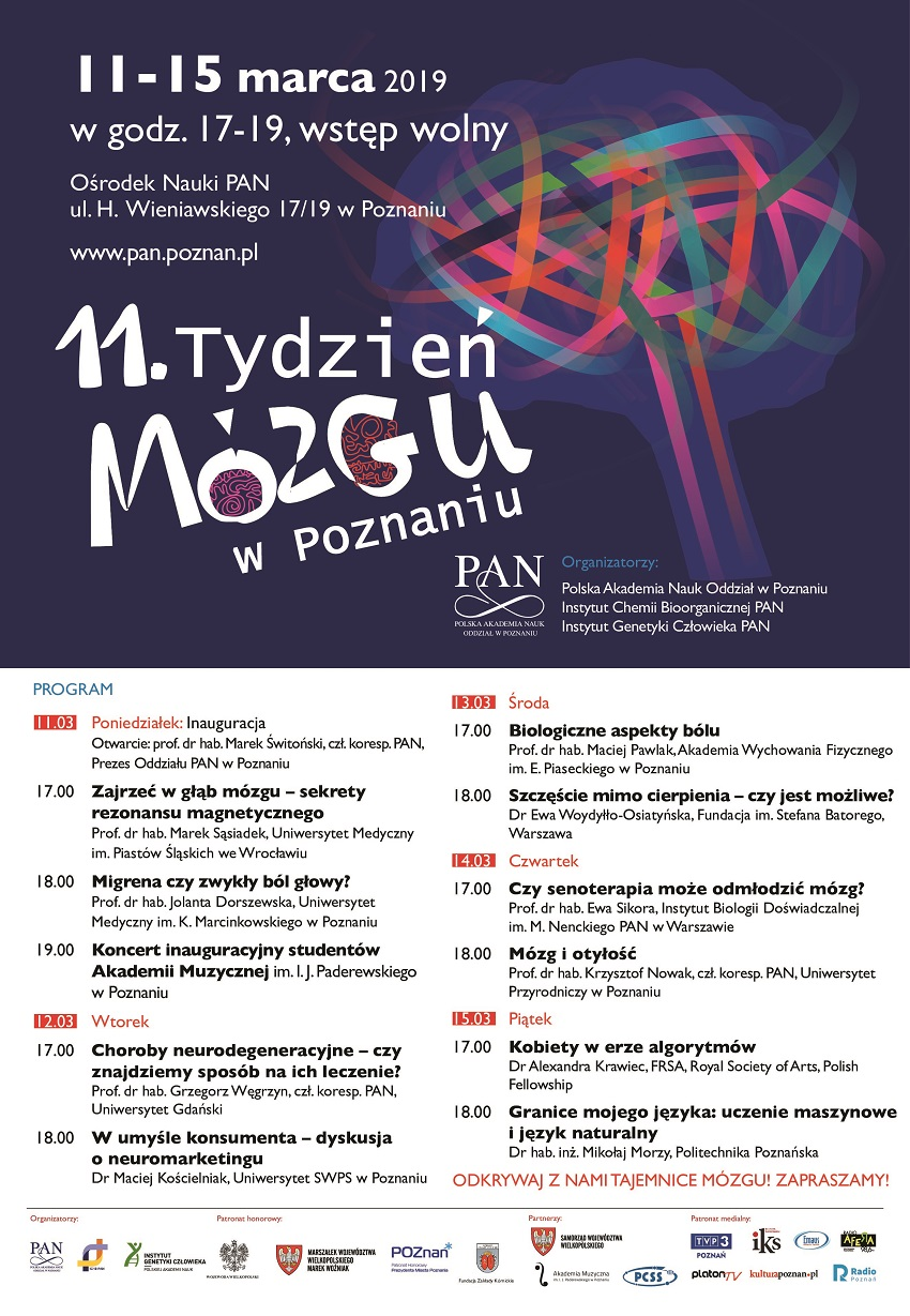 Zaproszenie na 11. Światowy Tydzień Mózgu w Poznaniu. - Materiały prasowe