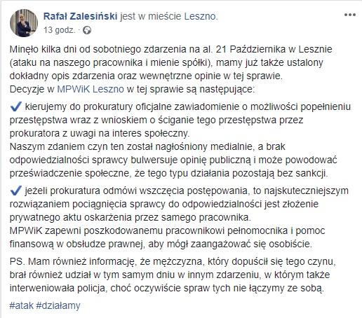 Post Rafała Zalesińskiego na Facebooku
