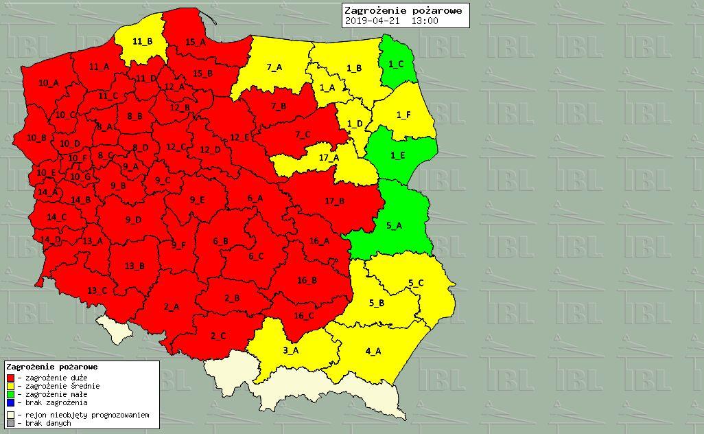 zagrożenie pożarowe w lasach - www.bazapozarow.ibles.pl/zagrozenie/