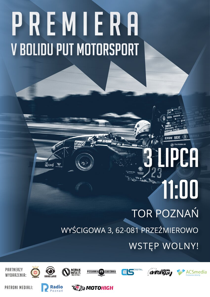 Premiera V bolidu PUT Motorsport - oficjalny plakat — kopia - Materiały prasowe