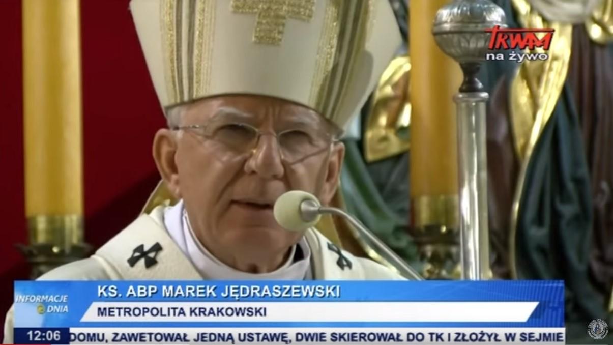 zablokowana homilia arcybiskupa marka jędraszewskiego - Screen YouTube: Radio Maryja