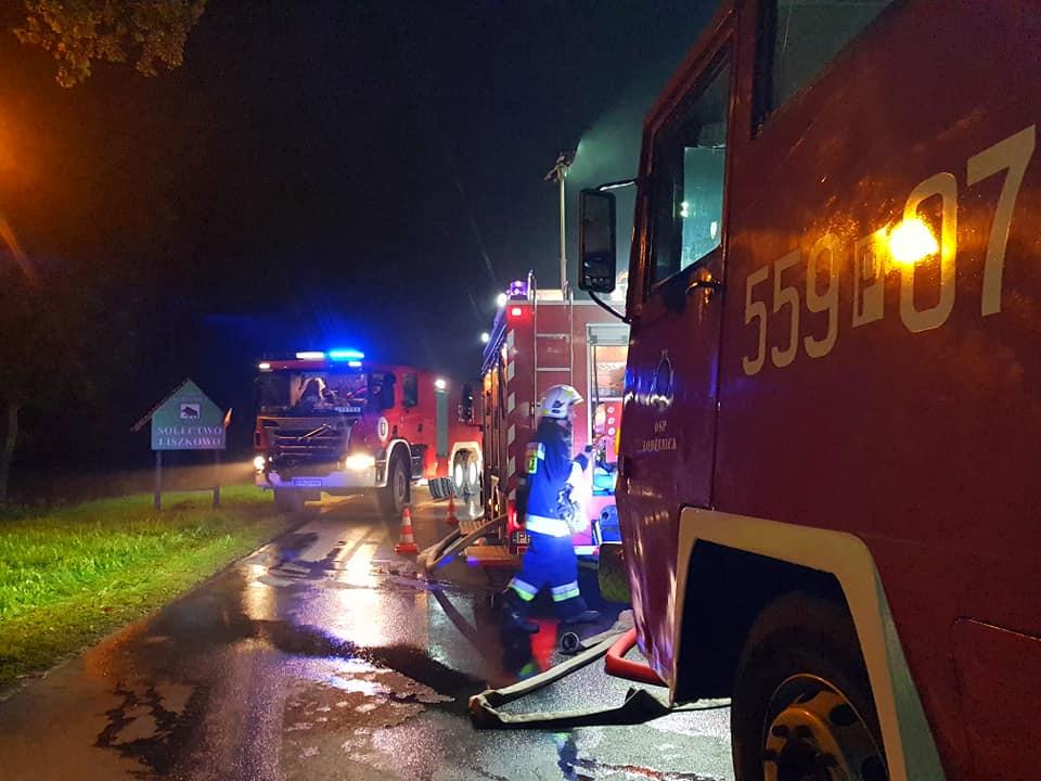 nocny pożar piła liszkowo - OSP Wyrzysk