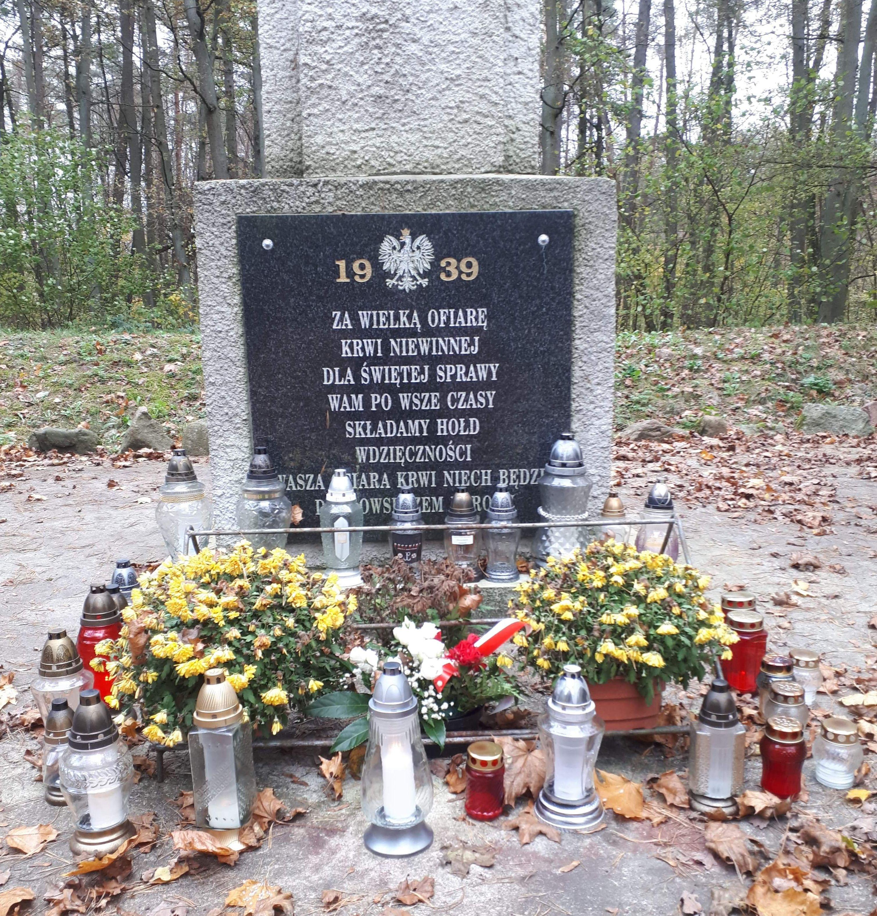 Znicze pod: Pomnikiem w Lesie Bytynskim k. Grzebieniska oraz pod pomnikiem Walk i Męczeństwa w Dusznikach - Towarzystwo Miłośników Ziemi Dusznickiej