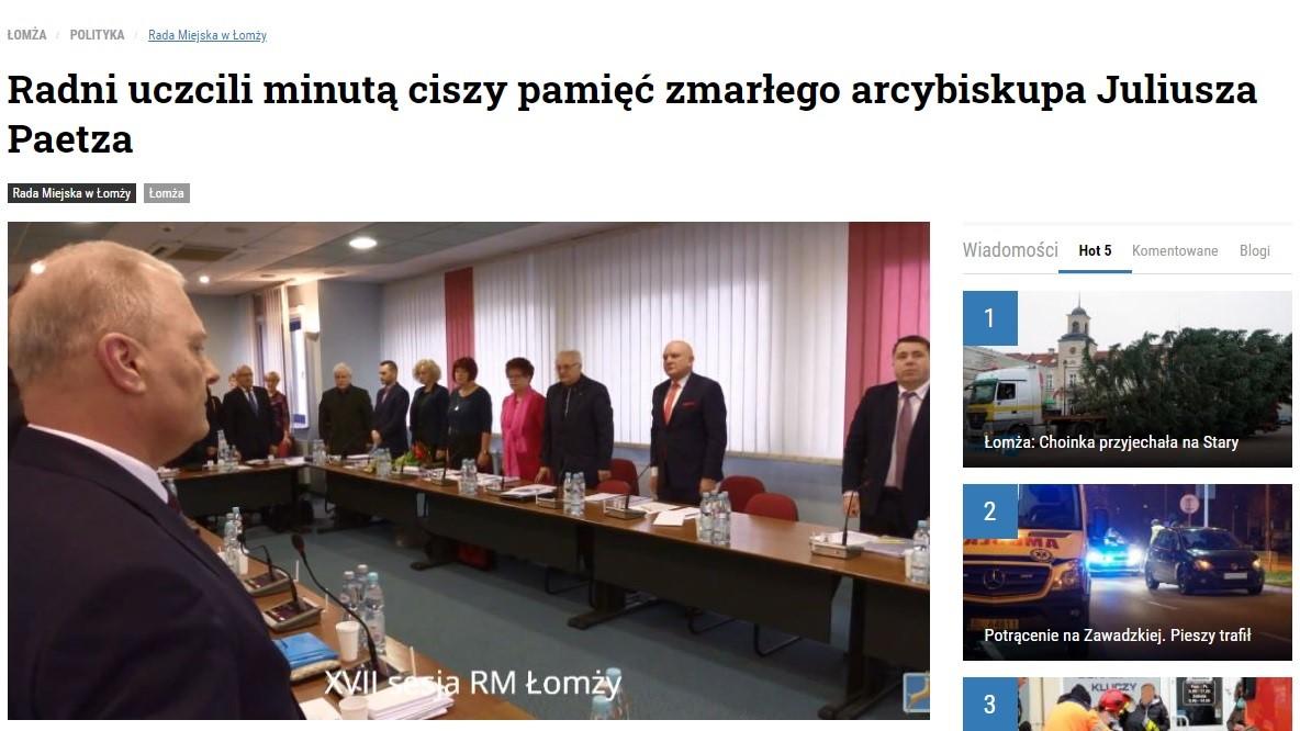radni Łomzy uczcili abpa Paetza - prtsc:mylomza.pl