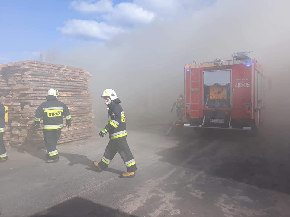 pożar tartaku huta szklana - OSP KSRG Pęckowo