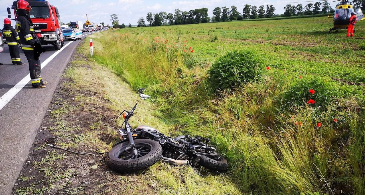 Ocieszyn wypadek motocyklista oborniki - OSP Ocieszyn