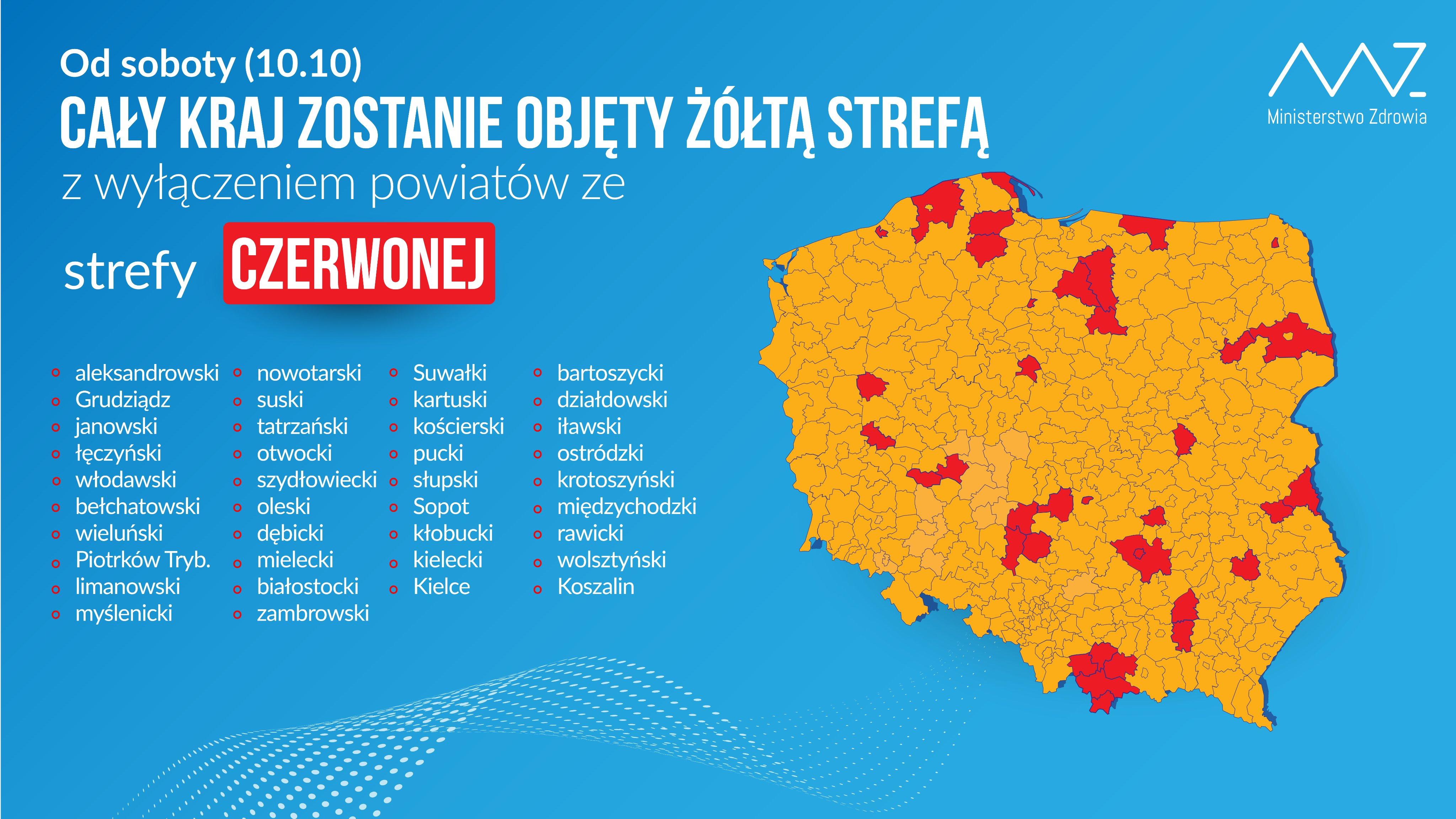 mapa kraj strefy czerwone - TT: Ministerstwo Zdrowia